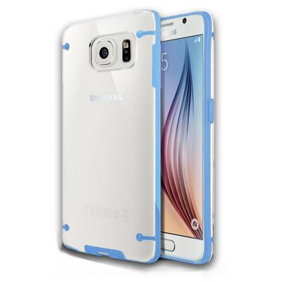 Microsonic Hybrid Transparant Samsung Galaxy S6 Kılıf Mavi Cep Telefonu Kılıfı