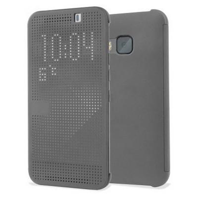 Microsonic View Cover Dot Delux Kapaklı Htc One M9 Kılıf Akıllı Modlu Gri Cep Telefonu Kılıfı