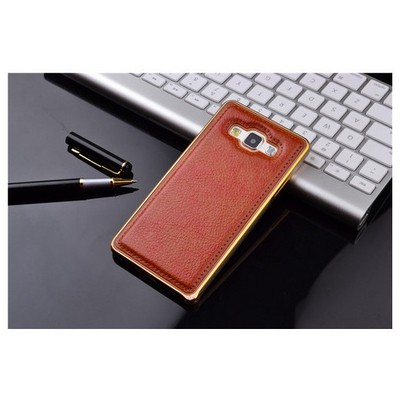 Microsonic Derili Metal Delüx Samsung Galaxy E5 Kılıf Kahverengi Cep Telefonu Kılıfı
