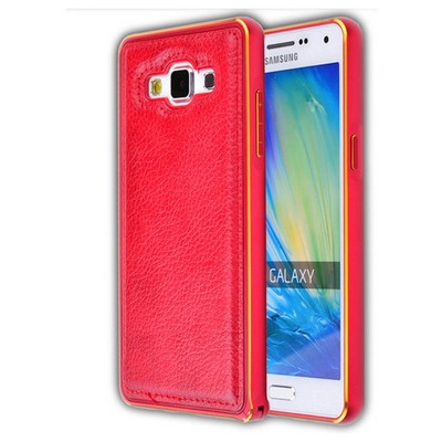 Microsonic Derili Metal Delüx Samsung Galaxy E5 Kılıf Kırmızı Cep Telefonu Kılıfı