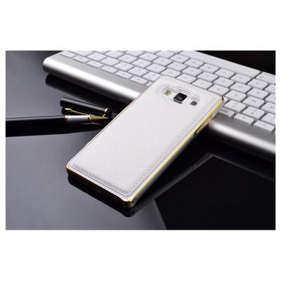 Microsonic Derili Metal Delüx Samsung Galaxy E5 Kılıf Beyaz Cep Telefonu Kılıfı