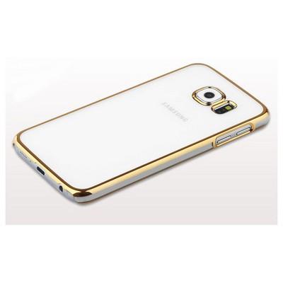 Microsonic Metalik Transparent Samsung Galaxy S6 Kılıf Gold Cep Telefonu Kılıfı