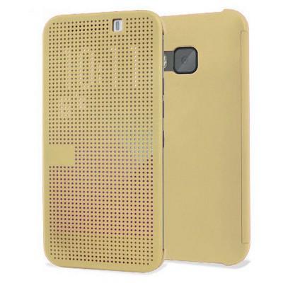 Microsonic View Cover Dot Delux Kapaklı Htc One M9 Kılıf Akıllı Modlu Gold Cep Telefonu Kılıfı