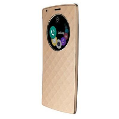 Microsonic Circle View Delux Kapaklı Lg G4 Kılıf Akıllı Modlu Gold Cep Telefonu Kılıfı