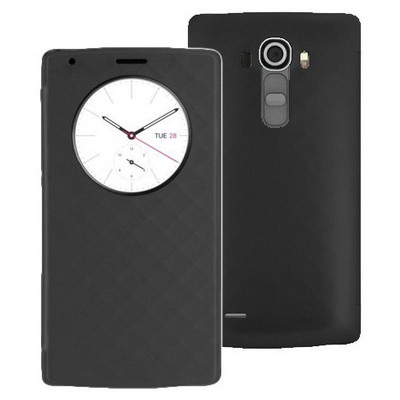 Microsonic Circle View Delux Kapaklı Lg G4 Kılıf Akıllı Modlu Siyah Cep Telefonu Kılıfı
