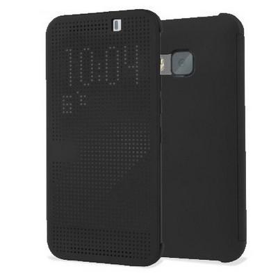 Microsonic View Cover Dot Delux Kapaklı Htc One M9 Kılıf Akıllı Modlu Siyah Cep Telefonu Kılıfı