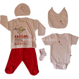 Aziz Bebe 5118 Hastane Çıkış Seti 6lı Beyaz-kırmızı 0 Ay (50-56 Cm) Kız Bebek Hastane Çıkışı