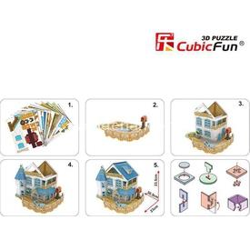 Cubic Fun 3d 132 Parça Led  Rural Villa Puzzle
