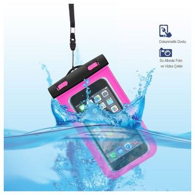 Microsonic Su Geçirmez  Iphone 6 - Samsung - Sony - Htc - Lg - Nokia Tüm Modellerle Uyumlu Pembe Cep Telefonu Kılıfı