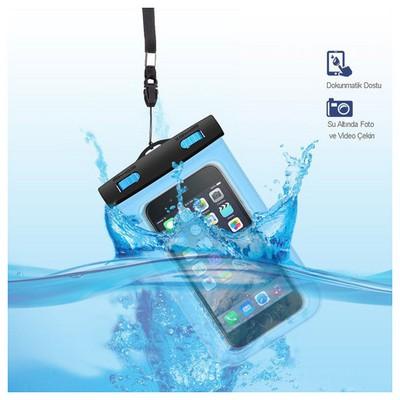 Microsonic Su Geçirmez  Iphone 6 - Samsung - Sony - Htc - Lg - Nokia Tüm Modellerle Uyumlu Mavi Cep Telefonu Kılıfı