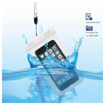 Microsonic Su Geçirmez  Iphone 6 - Samsung - Sony - Htc - Lg - Nokia Tüm Modellerle Uyumlu Beyaz Cep Telefonu Kılıfı