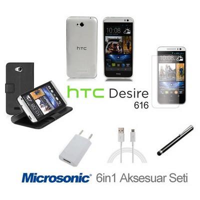 Microsonic Htc Desire 616 Kılıf & Aksesuar Seti 6in1 Cep Telefonu Kılıfı