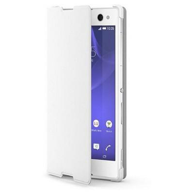 Microsonic Sony Xperia C3 Kılıf Slim Fit Standlı Flip Cover Beyaz Cep Telefonu Kılıfı