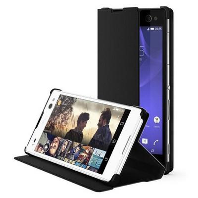 Microsonic Sony Xperia C3 Kılıf Slim Fit Standlı Flip Cover Siyah Cep Telefonu Kılıfı