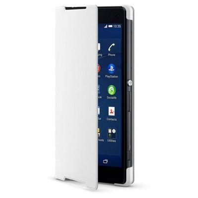 Microsonic Sony Xperia Z3 Kılıf Slim Fit Standlı Flip Cover Beyaz Cep Telefonu Kılıfı