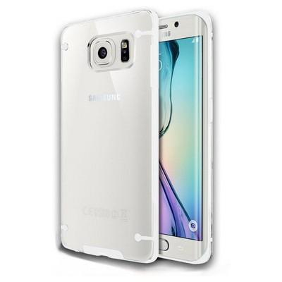 Microsonic Hybrid Transparant Samsung Galaxy S6 Edge Kılıf Beyaz Cep Telefonu Kılıfı