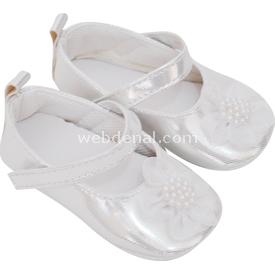 Pure Baby 1035 Deri Atkılı Babet Patik Gümüş No:1 (0-4 Ay) Ayakkabı & Patik