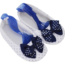 Pure Baby 1013 Küçük Puantiye Babet Beyaz-lacivert No:1 (0-4 Ay) Ayakkabı & Patik