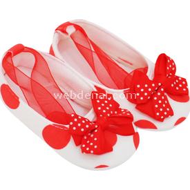 Pure Baby 1003 Büyük Puantiye Babet Beyaz-narçiçeği No:1 (0-4 Ay) Ayakkabı & Patik