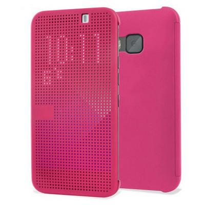 Microsonic View Cover Dot Delux Kapaklı Htc One M9 Kılıf Akıllı Modlu Pembe Cep Telefonu Kılıfı