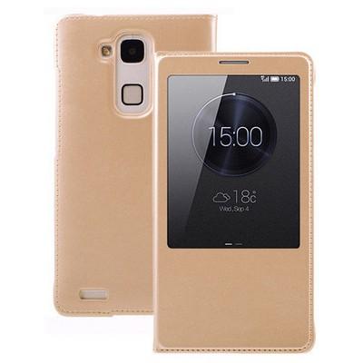 Microsonic View Slim Kapaklı Deri Huawei Ascend Mate 7 Kılıf Sarı Cep Telefonu Kılıfı