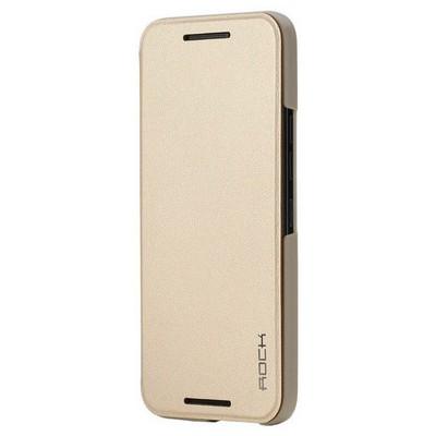 Microsonic Rock Touch Htc One M9 Smart Side Leather Kılıf Gold Cep Telefonu Kılıfı