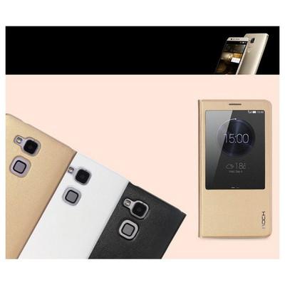 Microsonic Rock Uni Huawei Ascend Mate 7 Quick View Smart Leather Kılıf Beyaz Cep Telefonu Kılıfı