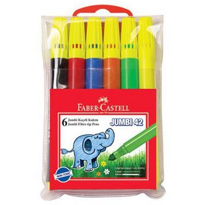 Faber Castell Jumbo Neon Keçeli Kalem 6'lı Poşet Resim Malzemeleri