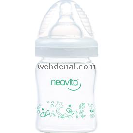 Neavita 16111 Geniş Ağız Desenli Cam Biberon 120 Ml Bebek Besleme