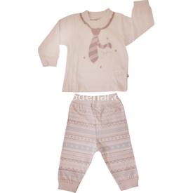Aziz Bebe 2533 Erkek Bebek 2li Takım Beyaz-mavi 6-9 Ay (68-74 Cm) Erkek Bebek Takım