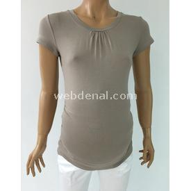 Trndy Trendy Büzgülü Hamile Body Vizon L Atlet & Body
