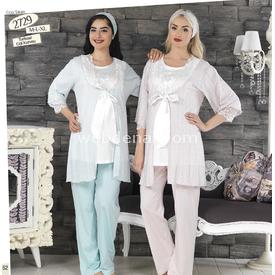Haluk Baha Lohusa 3'lü Pijama Takımturkuaz Turkuaz Xl Gecelik & Pijama