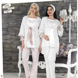 Haluk Baha Lohusa 3'lü Pijama Takımgül Kurusu Ekru Xl Gecelik & Pijama