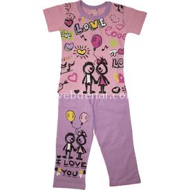Roly Poly 1560 Kız Çocuk Pijama Takımı Pembe-lila 3 Yaş (98 Cm) Kız Bebek Pijaması