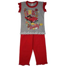 Roly Poly 1360 Arabalı Kız Çocuk Pijama Takımı Kırmızı 3 Yaş (98 Cm) Kız Bebek Pijaması