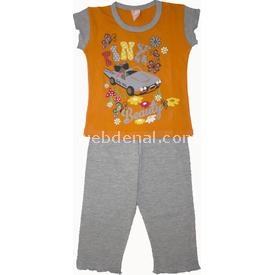 Roly Poly 1360 Arabalı Kız Çocuk Pijama Takımı Turuncu 1 Yaş (86 Cm) Kız Bebek Pijaması