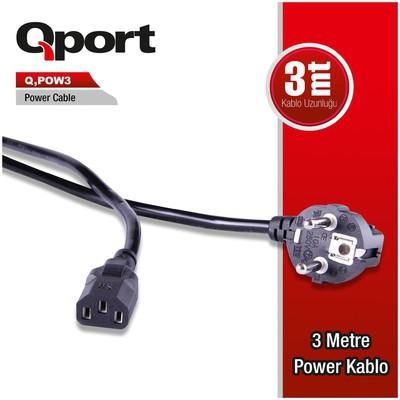 Qport Q-pow3 Qport Q-pow3 3 Metre Pc Power Kablosu Güç Kablosu