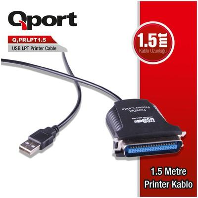 Qport Q-prlpt1_5 Qport Q-prlpt1.5 Usb/lpt Dönüştürücü 1.5 Metre Printer Kablosu Yazıcı Kabloları