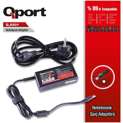 Qport Qs-as01 Qport Qs-as01 Asus-44w 12v 3a 4.8*1.7 Asus Netbook Standart Adaptor Kasa İçi Kablolar