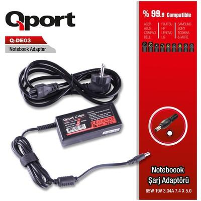 Qport Qs-de03 Qport Qs-de03 Dell-65w 19v 3.34a 7.4*5.0 Dell Inspiron Notebook Adaptor Laptop Şarj Aleti