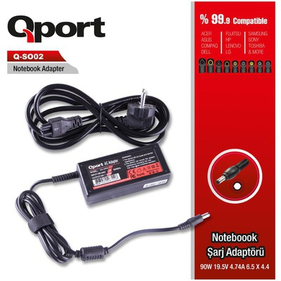 Qport Qs-so02 Qport Qs-so02 Sony-90w 19.5v 4.74a 6.5*4.4 Sony Notebook Standart Adaptr Laptop Şarj Aleti