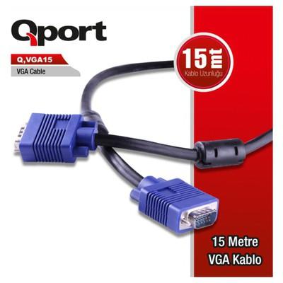 Qport Q-vga15 Qport Q-vga15 15 Pin Fitreli 15 Metre Erkek Erkek Monitör Kablo Ses ve Görüntü Kabloları