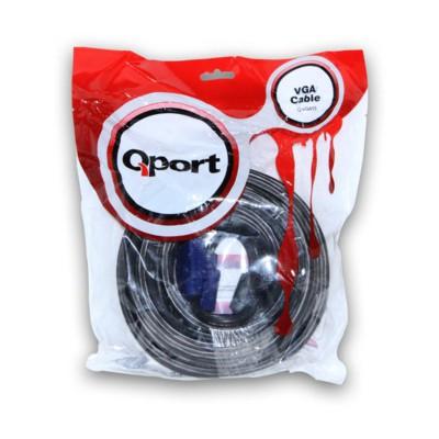 Qport Q-vga15 Qport Q-vga15 15 Pin Fitreli 15 Metre Erkek Erkek Monitör 0 VGA Kablolar