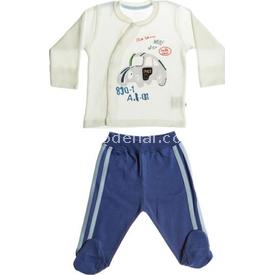 Aziz Bebe 2478 Erkek Bebek 2li Takım Ekru-mavi 0 Ay (50-56 Cm) Erkek Bebek Takım