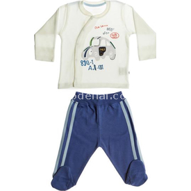 Aziz Bebe 2478 Erkek Bebek 2li Takım Ekru-mavi 0-3 Ay (56-62 Cm) Erkek Bebek Takım