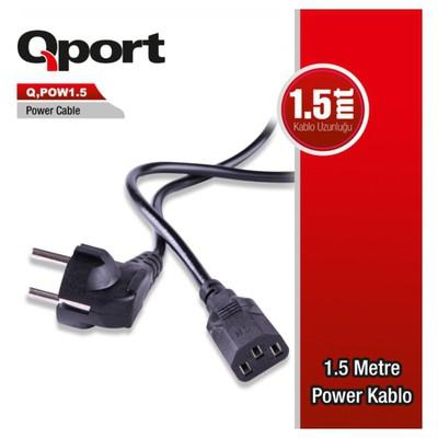 Qport Q-pow1_5 Qport Q-pow1.5 1.5 Metre Pc Power Kablosu Güç Kablosu