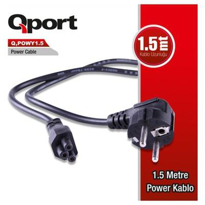 Qport Q-powy1_5 Qport Q-powy1.5 1.5 Metre Notebook Power Kablosu Güç Kablosu