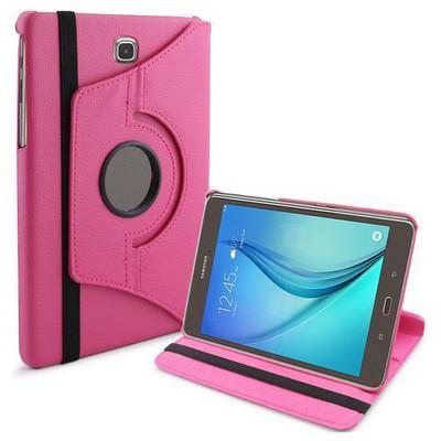 Microsonic 360 Rotating Stand Deri Samsung Galaxy Tab A 8.0'' T350 Kılıf Pembe Tablet Kılıfı