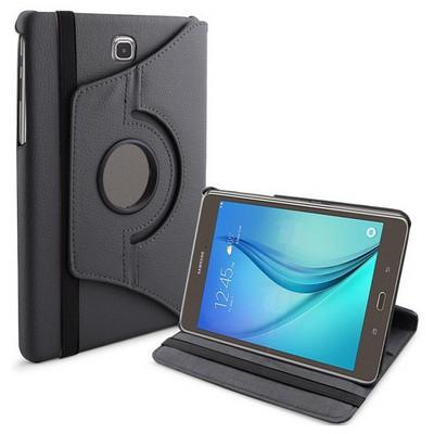 Microsonic 360 Rotating Stand Deri Samsung Galaxy Tab A 8.0'' T350 Kılıf Siyah Tablet Kılıfı