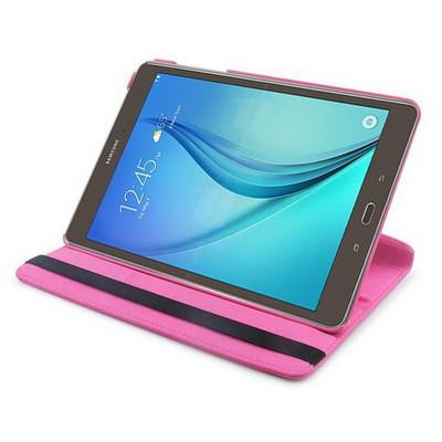 Microsonic 360 Rotating Stand Deri Samsung Galaxy Tab A 9.7'' T550 Kılıf Pembe Tablet Kılıfı